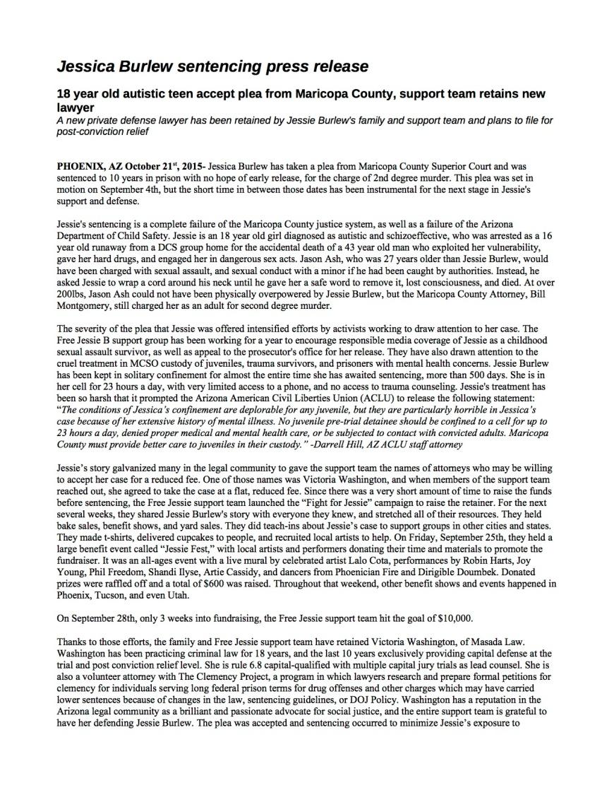 Jessie Burlew sentencing press release